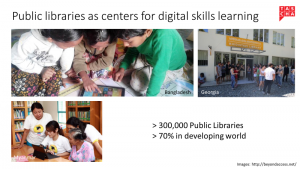 slide: public libraries as center for digital skills learning.