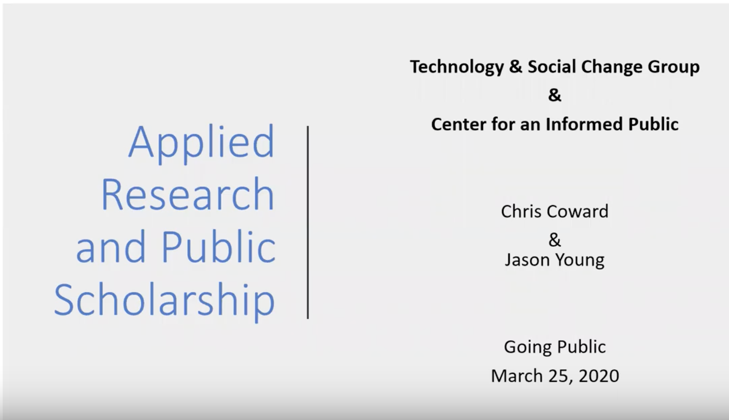 Title Slide for Applied Research and Public Scholarship