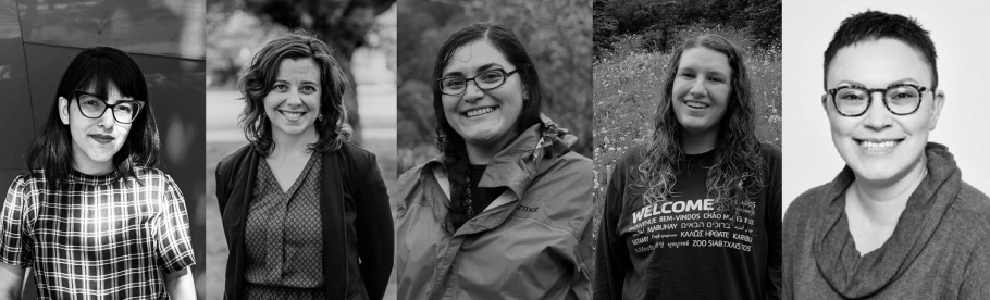 Five black and white headshots of TASCHA Research Assistants